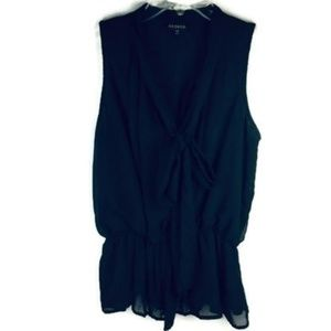 George Size S Ribbon Tie Neck Sleeveless Elastic